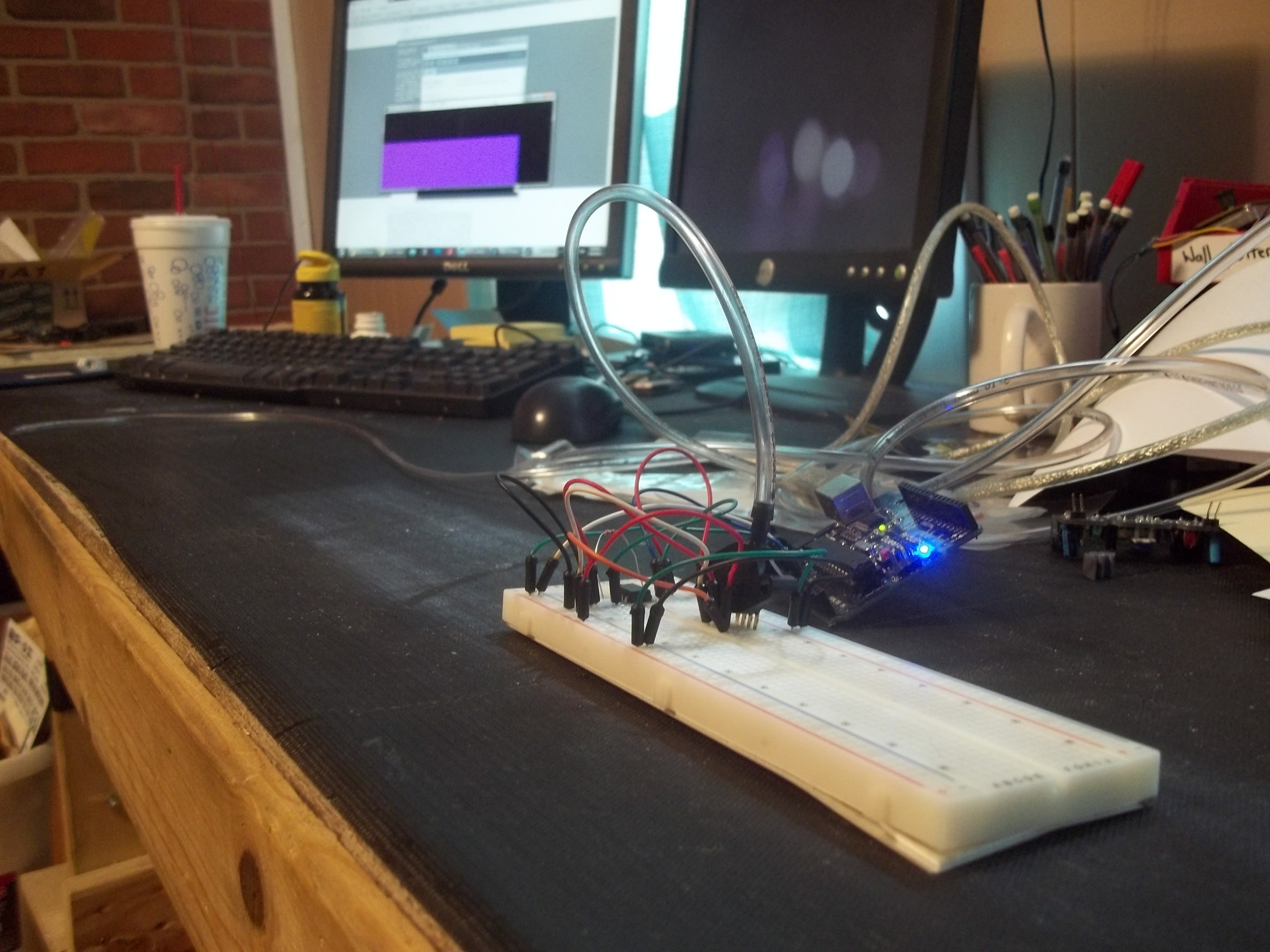 """Working breadboard prototype of an open-source """"sip and puff"""" interface"""